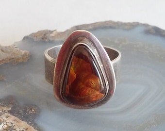 Fire Agate in Sterling Silver Ladies Ring - On Sale