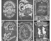 Chalkboard Christmas Tag Collage Sheet
