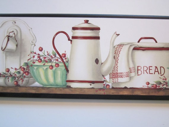 items similar to enamelware wall decor plaque vintage style country kitchen style picture white. Black Bedroom Furniture Sets. Home Design Ideas