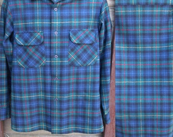 Men's Pendleton Plaid Shirt, Vintage 70's /80's plaid Button Down
