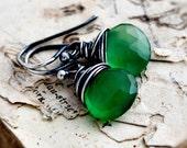 Chalcedony Earrings, Green Gemstone, Drop Earrings, Dangle Earrings, Wire Wrapped, Sterling Silver, Teal Green, Polestar, Gemstone Jewelry