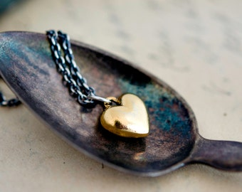 Heart Necklace, Brass Heart, Heart Pendant, Sterling Silver, Valentine Necklace, Valentines Day, Valentines Gift, PoleStar