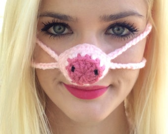 Nose Warmer Pink Pig, Gag Gift, Nose Cozy, Stocking Stuffer, Winter, Man, Woman, Teen, Outdoor Nose Cover, Sleeping with Warm Nose