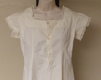 Antique vintage linen full slip/nightgown open to waist button front flared