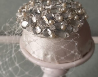 Small Crystal and Pearl Hair Clip/Fascinator with Birdcage Veil