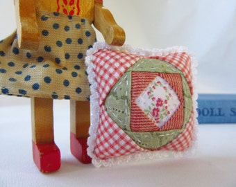 Minature Patchwork Pillow - MADE for YOUR DOLL in Spring Gingham
