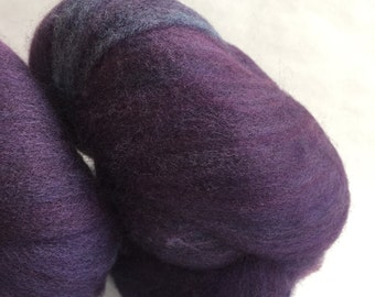 "2 Batts of ""trudi"" 100 percent Corriedale in a shade of purple 3.67oz"