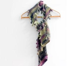 Hand Crochet Scarf, Bobble Scarf,  Multi Color Scarf, Warm Scarf, Vegan Scarf, Soft Green Purple, Women's Scarf, Ready to Ship