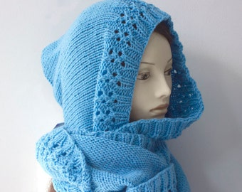 Half Price Sale, Cornflower Blue Hooded Cowl Scarf, Hand Knit Winter Hooded Scarf, Infinity Scarf, Circle Scarf, Ready to Ship