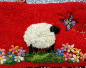 Sheep Coin Purse, Needle Felted Coin Purse,Art Purse Felted Sheep Purse