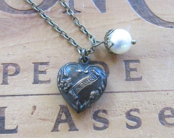 Rustic Heart and Pearl Necklace