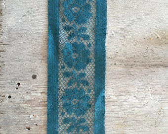 Vintage Teal Cotton Lace 3.75 Trim Inch Wide MANY Yards Available