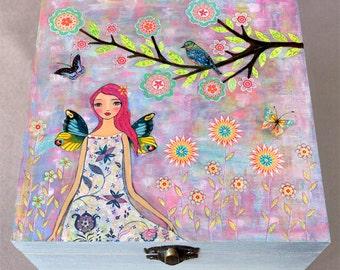 Jewelry Box - Fairy Jewelry Box - Butterfly Wings Fairy Jewelry Box - Jewelry Organizer - Large Wooden Jewelry Box