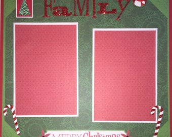 MERRY CHRISTMAS 12 x 12 premade scrapbook layout - FAMILY Christmas