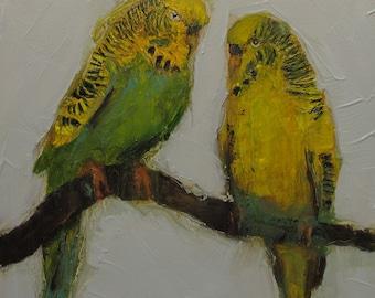 ORIGINAL Parakeets Bird 6x6 oil on panel Colette Davis