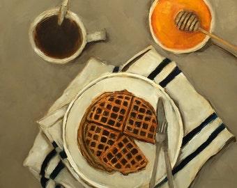 ORIGINAL WAFFLES HONEY Coffee Contemporary Still Life 12 x 12 oil on panel Colette Davis