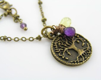 Tree of Life Necklace, Tree Jewelry, Woodland Necklace, Charm Necklace, Amethyst and Lemon Quartz, Wire Wrapped Jewelry, Customizable