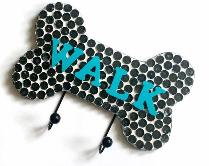 Mosaic Leash Holder, Mosaic Leash Hooks, WALK Leash Holder, Black White Teal Aqua Leash Holder, Bone Shaped Leash Rack Hook Holder,