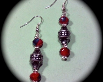 Pretty in Reds and Silver Fashion Long Dangle Fashion Earrings for Every Day Wear boho gypsy native holiday gift fall winter
