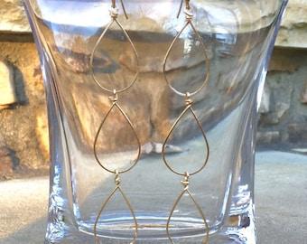 SALE--Triple gold hoop earrings