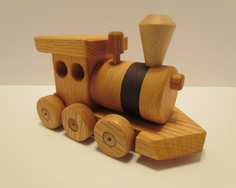 SALE 10 Off! Wooden Train set (6 car)  Handmade toy Large oak and walnut Heirloom Quality  Beautifully hand finished.