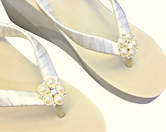 Bridal Flip Flops Wedge -  Wedding Wedge Flip Flops - Platform Flip Flops -  Beach Wedding - Rhinestone Wedge Flip Flops - Jangles
