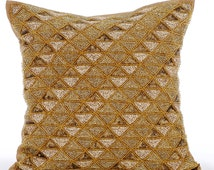 Decorative Throw Pillow Covers Accent Pillow Couch Toss Bed Sofa Pillow 16x16 Gold Brown Silk Pillow Cover Bead Embroidered Gold Shocker