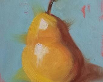 "Small Original Oil Painting, Pear, 4 x 4"", Unframed, Wall Art, Kitchen Art"