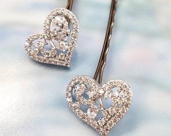Heart Hairpin, Crystal Heart Hair Accessory, Valentine