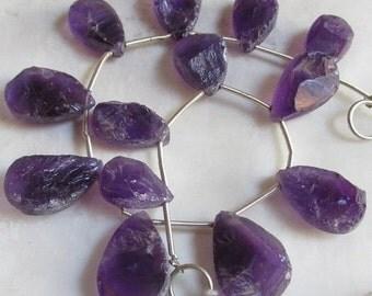 25% Off Sale Deep Amethyst Hammered Briolette Beads, Fine Uruguay Gemstone , Possible pairs