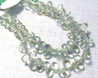 25% Off Sale Green Amethyst Briolette Beads, Prasiolite Gemstone Beads 8 Inches 7mm 8mm 10mm