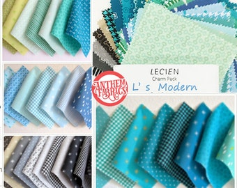 """5"""" x 5"""" Charm Pack L's Modern Basics Cool color set 42 pieces - Lecien Japan"""