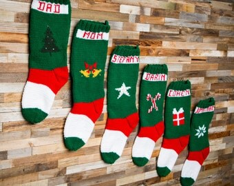 Christmas Stockings, Candy cane, Star, Tree, Snowflake, Gift, Bell, Family Stocking, Christmas Stocking Design,