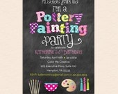 Pottery Painting Party Invitation - Chalkboard Style with Pottery Bowl, Brushes, Palette and Paints