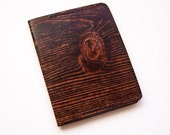 Leather Money Clip with Wood Grain Design - Men's Thin Wallet with Spring Steel Clip