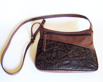 Brown Leather Purse with Lava Leather Design - Crossbody Style Handbag