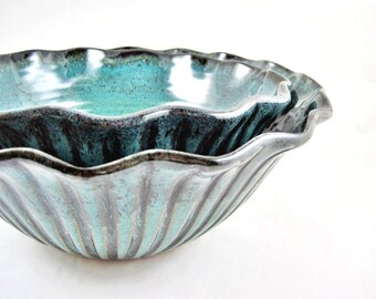 Handmade pottery scallop bowls, stoneware serving bowls, teal blue pottery- Wedding Gift - IN STOCK tbp 21 SB Set