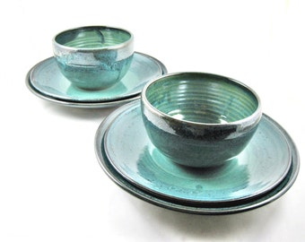 Ready to ship, Set of 2 Stoneware dishes, pottery dinnerware, place setting, teal blue ceramics and pottery - In stock