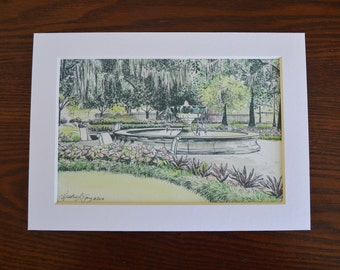 Orleans Square Fountain Savannah Watercolor Ink Print