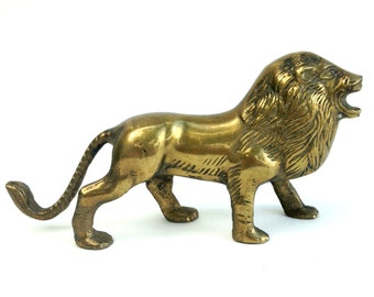 Free Shipping Vintage Solid Brass Lion Figure Hollywood Regency
