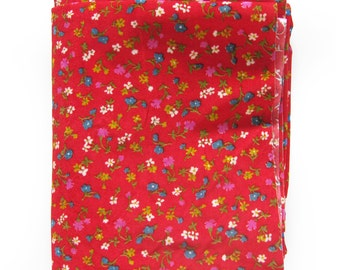 Red Floral Velour Fabric / Small Print Floral / Flocked Vintage Fabric/ 1-2/3 Yards