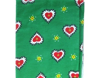 Vintage Flannel Fabric - Hearts and Flowers Print - Red Green Yellow Black