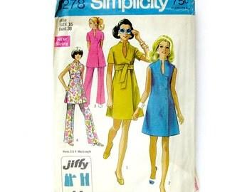 1969 Vintage Sewing Pattern - Wrap Dress or Tunic / Sash Belt Jiffy Dress / Simplicity 8278 / Size 16