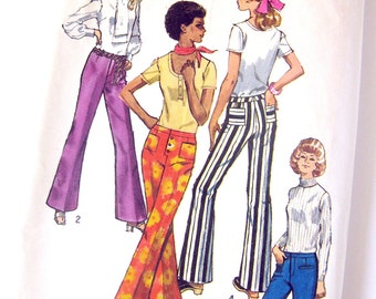 Hip Hugger Pants Pattern Vintage Sewing Pattern Simplicity 9069 Seventies Mod Flare Leg Pants with Patch Pockets / Size 10