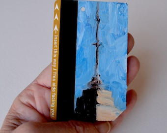 Art Oil Painting New York City Empire State Building on Recycled NYC Subway Card