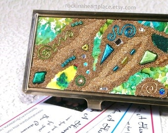 Metal Business Card Case with Microbead Collage Top, in greens and blues, brushed bronze finish