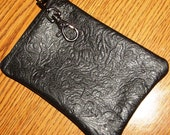Black Embossed LEATHER Zip Wallet/Coin Purse/Change Pouch