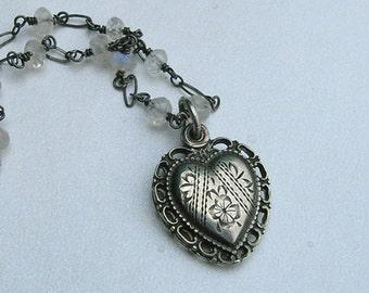 Vintage Sterling Sliding Religious Heart Pendant Necklace With Moonstone Gemstones, Sliding Religious Pendant Necklace, Gift For Her (L177)