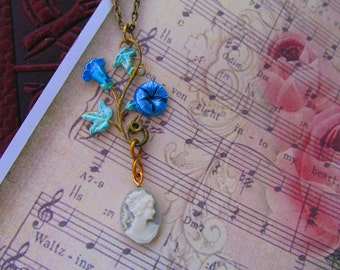 Cameo and morning glory Necklace Vintage necklace Bridal necklace Blue Necklace Unique Necklace Simple necklace