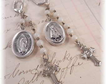 On Sale Up-cycled Religious Earrings Vintage Rosary